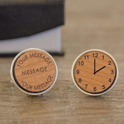 Personalised Engraved Any Message And Time Wooden Cufflinks from Pukkagifts.uk