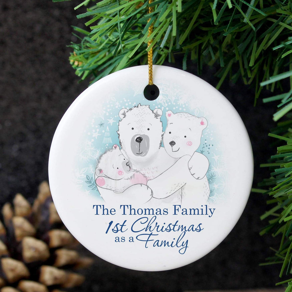 Personalised Polar Bear 1st Christmas As A Family Round Ceramic Decoration