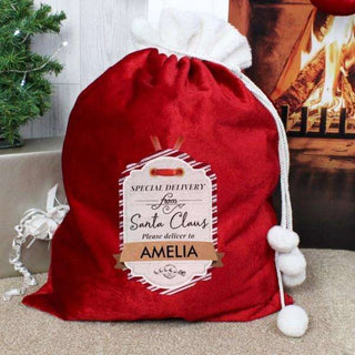 Personalised Special Delivery Pom Pom Luxury Christmas Sack from Pukkagifts.uk