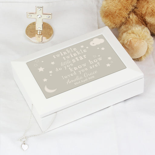 Personalised Twinkle Twinkle White Jewellery Box