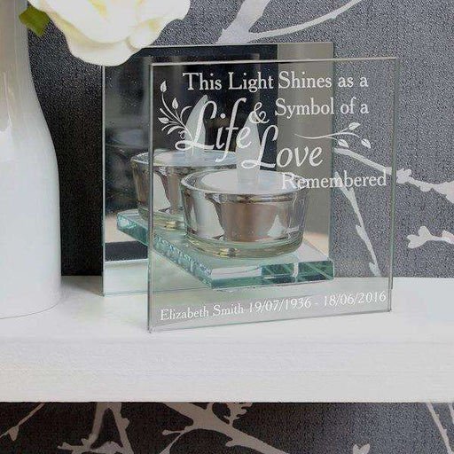 Personalised Life & Love Mirrored Glass Tea Light Holder from Pukkagifts.uk