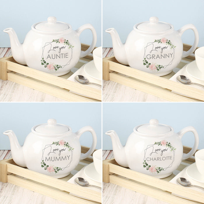 Personalised Abstract Rose Teapot