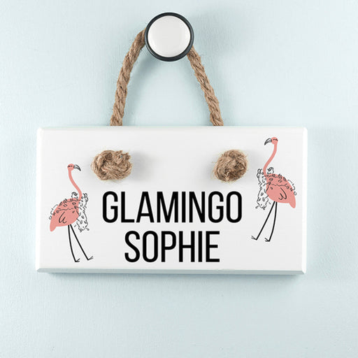 Personalised Glamingo White Hanging Sign