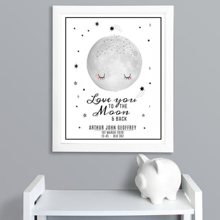 Personalised Baby Love You To The Moon and Back White Framed Print