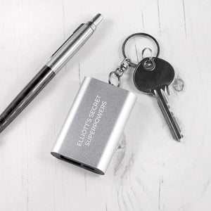 Emergency Personalised Miniature Power Bank Keyring
