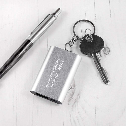 Emergency Personalised Miniature Power Bank Keyring from Pukkagifts.uk