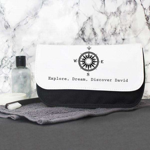 Personalised Compass Design Men's Wash Bag from Pukkagifts.uk