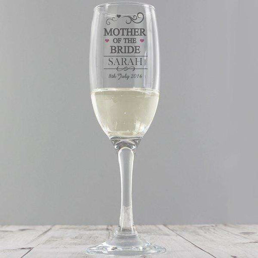 Personalised Mother of the Bride Glass Flute from Pukkagifts.uk
