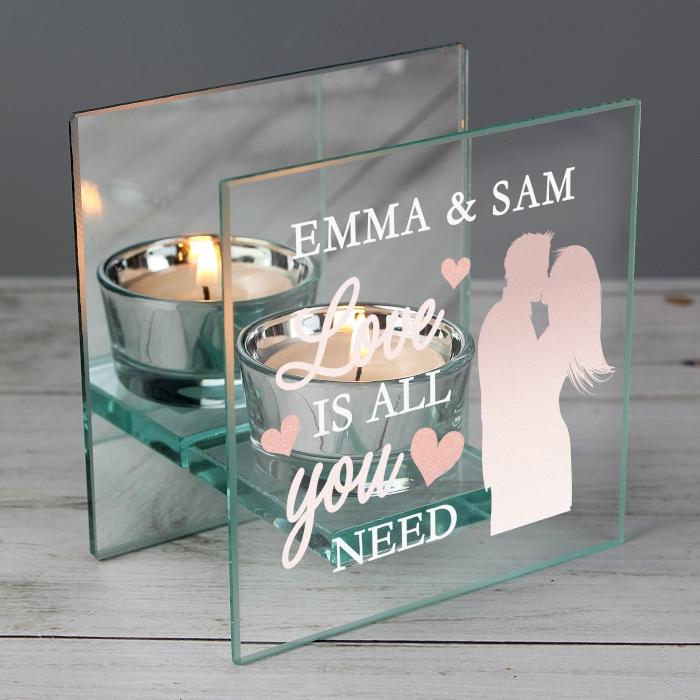 Personalised Love is All You Need Mirrored Glass Tea Light Holder from Pukkagifts.uk