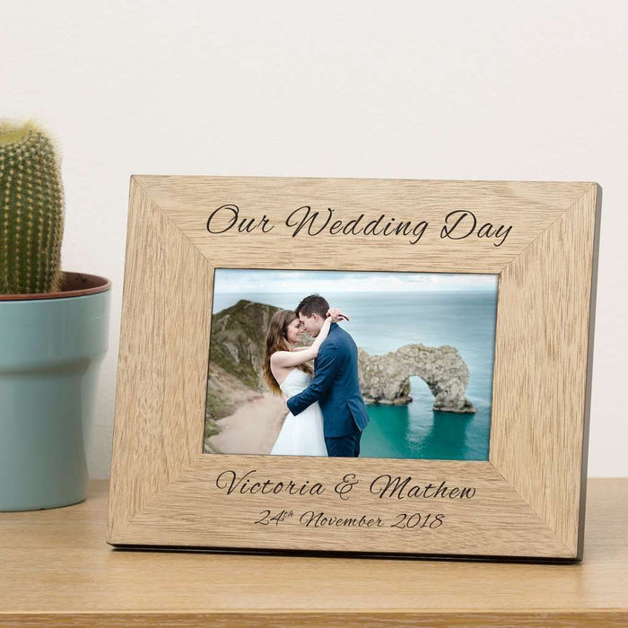 Personalised Our Wedding Day Photo Frame 6x4 from Pukkagifts.uk