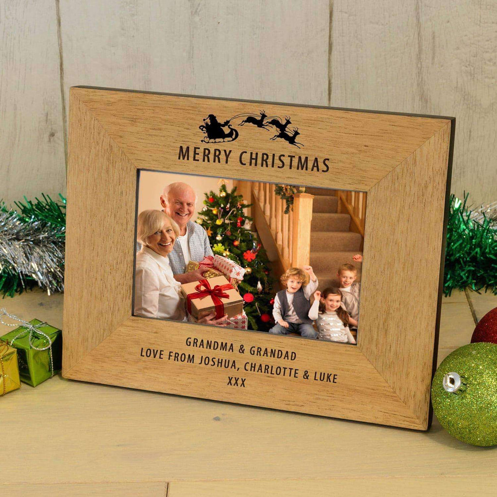 Personalised Merry Christmas Photo Frame - Sleigh Design from Pukkagifts.uk