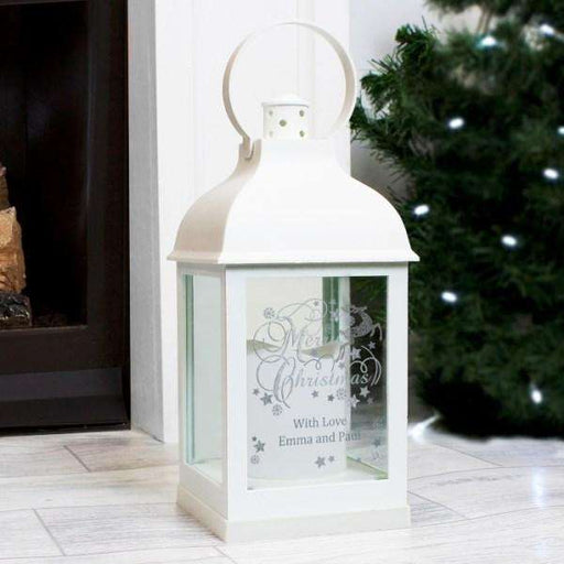 Personalised Merry Christmas Reindeer White Lantern from Pukkagifts.uk