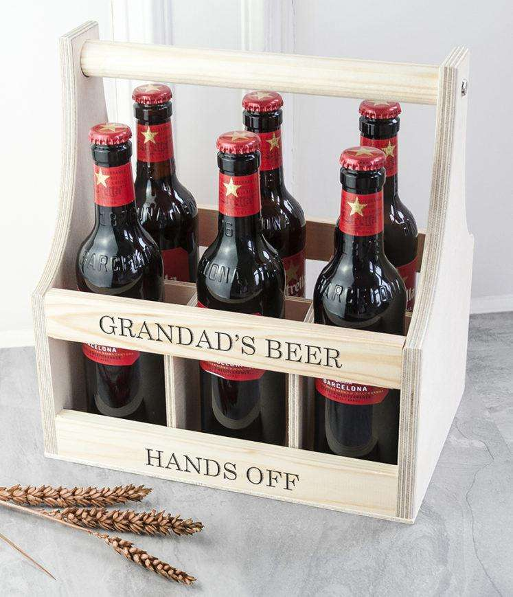 Personalised Wooden Beer Trug - Wooden Beer Carrier from Pukkagifts.uk