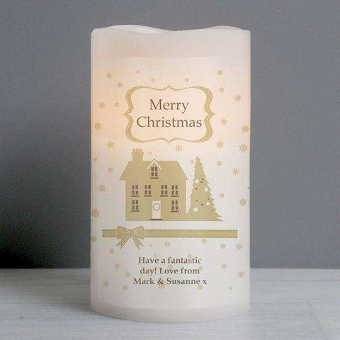 Personalised Festive Village Christmas LED Candle from Pukkagifts.uk