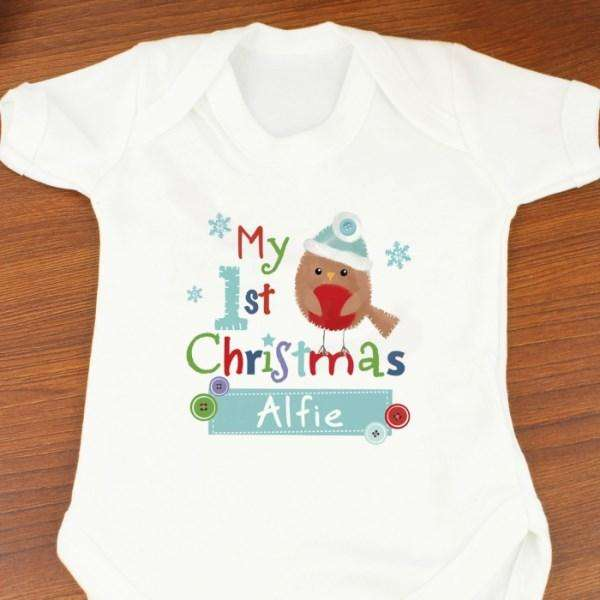 Personalised Felt Stitch Robin 'My 1st Baby Christmas' Baby Vest from Pukkagifts.uk