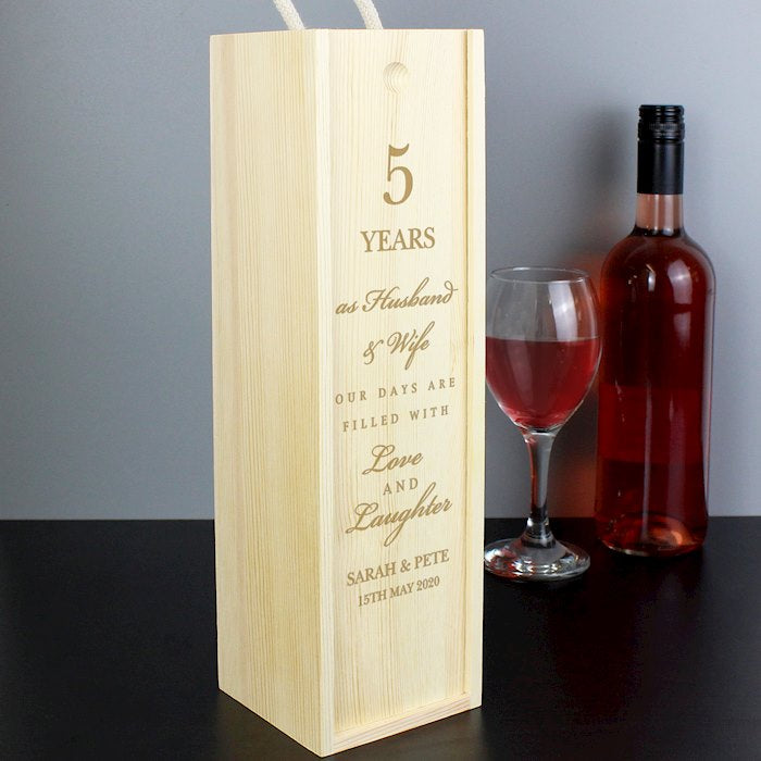 Personalised Wedding Anniversary Bottle Box from Pukkagifts.uk