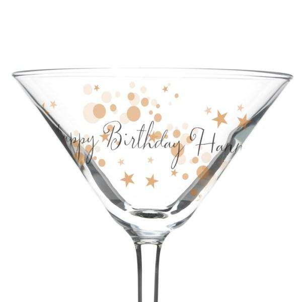 Personalised Gold Bubbles Celebration Cocktail Glass from Pukkagifts.uk