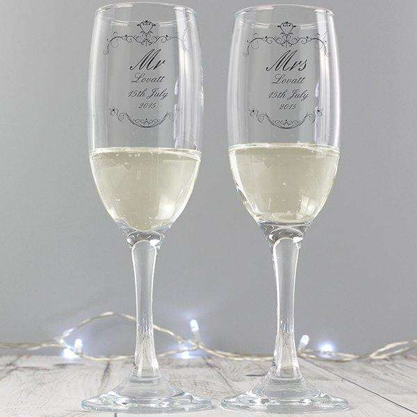 Personalised Ornate Swirl Couples Pair of Flutes with Gift Box from Pukkagifts.uk