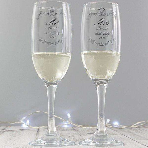 Personalised Ornate Swirl Couples Pair of Flutes with Gift Box,Pukka Gifts