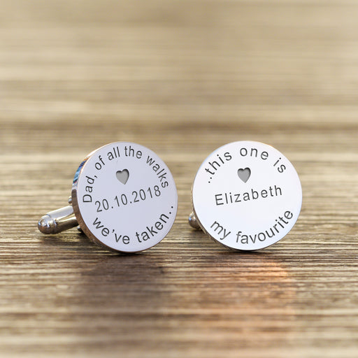 Personalised Dad Of All The Walks We've Taken This One Is My Favourite Cufflinks