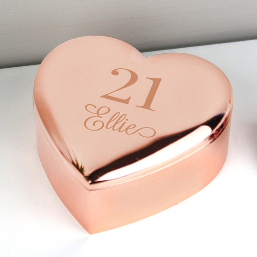 Personalised Birthday Age Rose Gold Heart Trinket Box