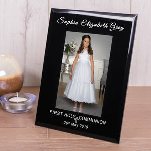 Personalised First Holy Communion Black Glass Photo Frame 6x4 from Pukkagifts.uk