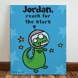 Personalised Cosmic Dinosaur Canvas
