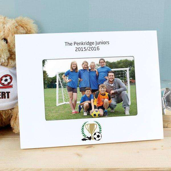 Personalised Football Photo Frame 6x4 White Wooden Landscape from Pukkagifts.uk