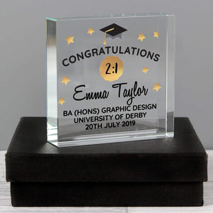 Personalised Congratulations Graduation Large Crystal Token from Pukkagifts.uk