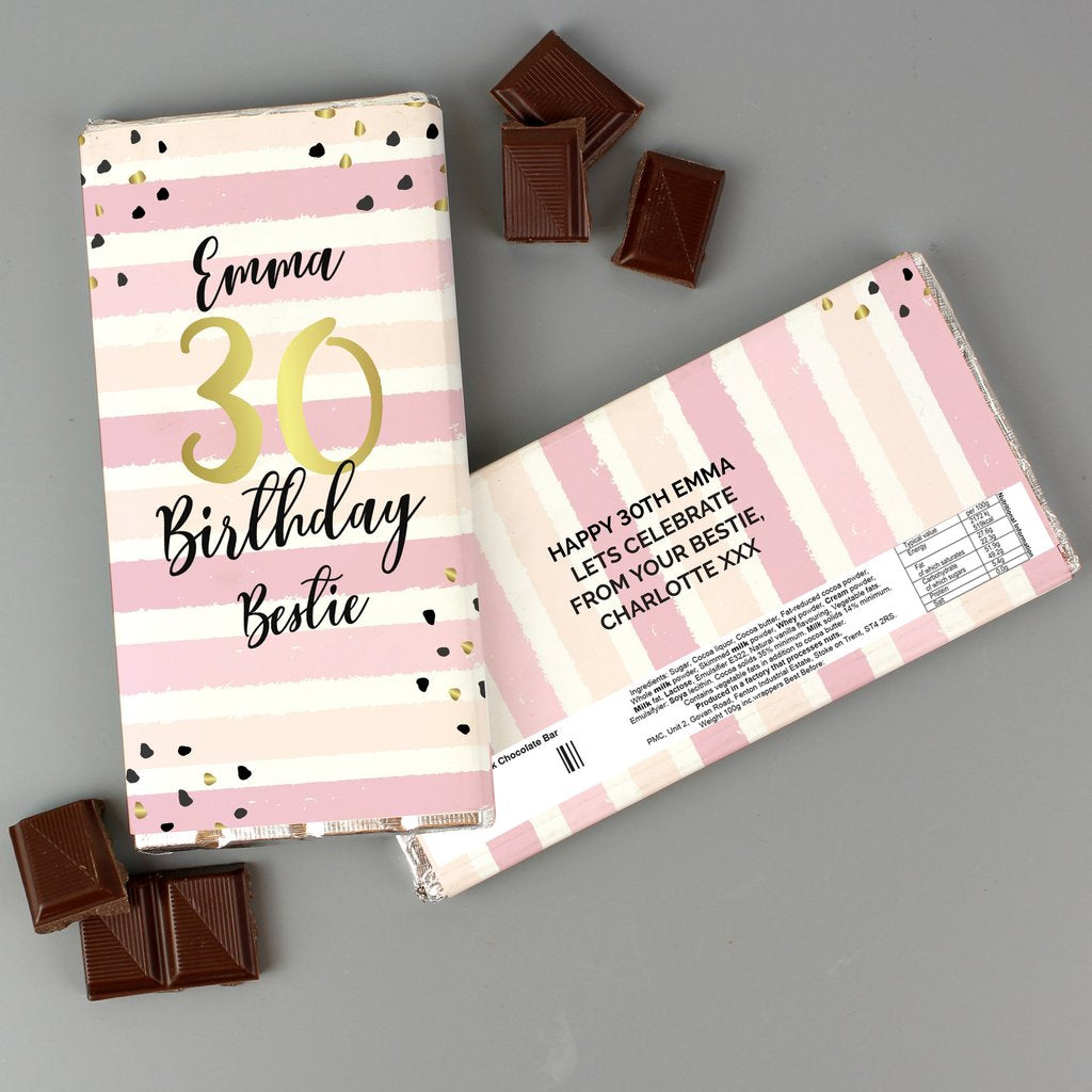 Personalised Birthday Gold and Pink Stripe Milk Chocolate Bar from Pukkagifts.uk
