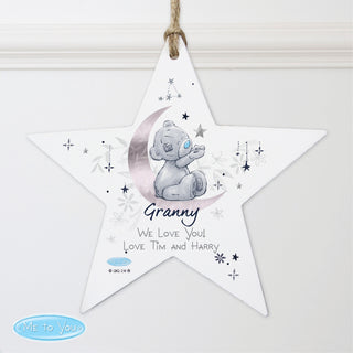 Personalised Moon & Stars Me To You Wooden Star Decoration
