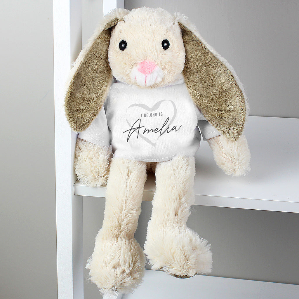 Personalised 'I Belong To' Bunny Rabbit In T-Shirt