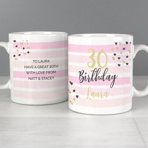 Personalised Birthday Age Gold and Pink Stripe Mug
