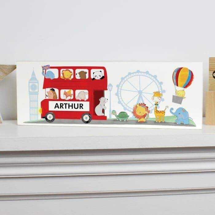Personalised London Animal Bus Wooden Block Sign from Pukkagifts.uk