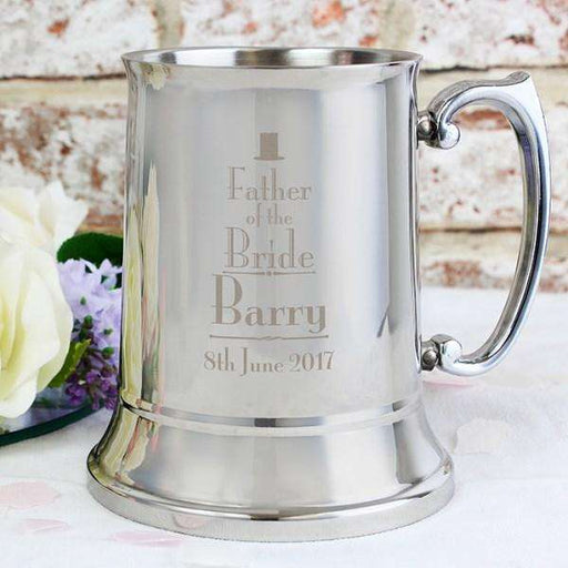 Personalised Decorative Wedding Father of the Bride Stainless Steel Tankard from Pukkagifts.uk