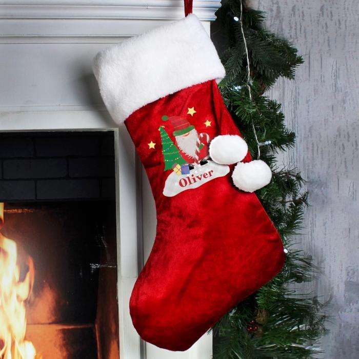 Luxury Christmas Stockings Uk.Personalised Tartan Santa Luxury Christmas Stocking
