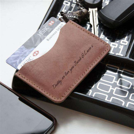 Personalised Tan Leather Credit Card Holder from Pukkagifts.uk