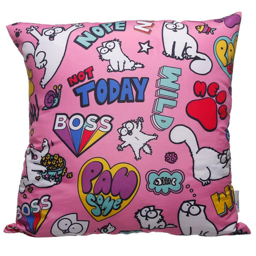 Pink Simon's Cat Pawsome Cushion with Insert 50 x 50cm