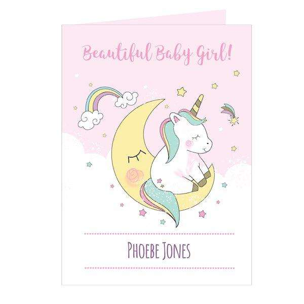 Personalised Baby Unicorn Card from Pukkagifts.uk