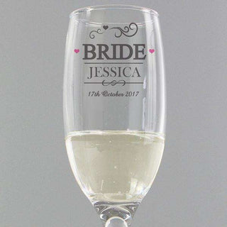 Personalised Bride Champagne Glass Flute from Pukkagifts.uk