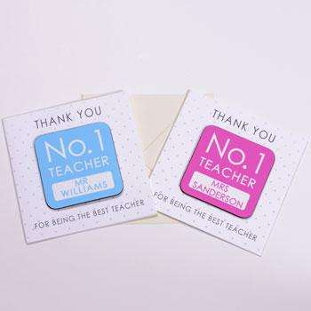 No. 1 Teacher Personalised Coaster Card Free Delivery,Pukka Gifts