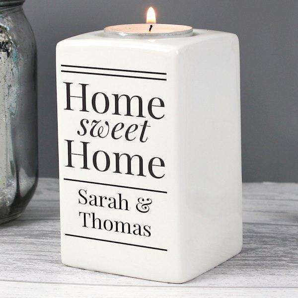 Personalised Home Sweet Home Tea Light Candle Holder from Pukkagifts.uk