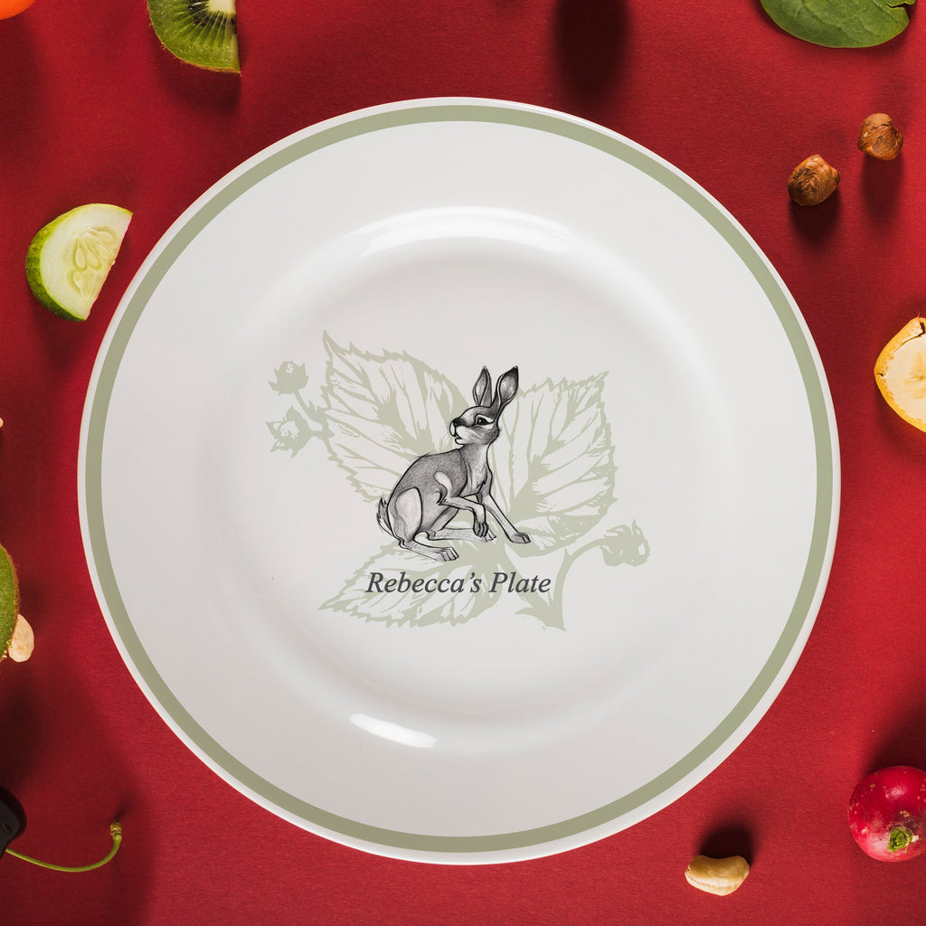 "Personalised Watership Down Fiver Rimmed Plate 10"" from Pukkagifts.uk"