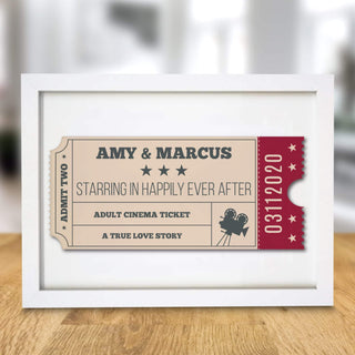 Personalised Cinema Ticket A4 Framed Print