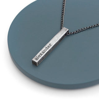 Personalised Men's Brushed Gunmetal Solid Bar Necklace