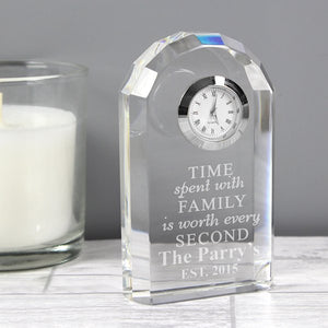 Personalised Time Spent With Family Crystal Clock from Pukkagifts.uk