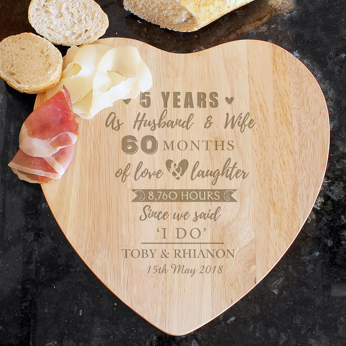 Personalised 5th Wedding Anniversary Wooden Heart Chopping Board