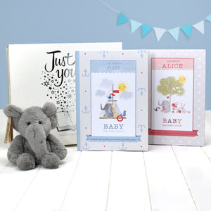 Personalised Baby Record Book with Plush Elephant Toy