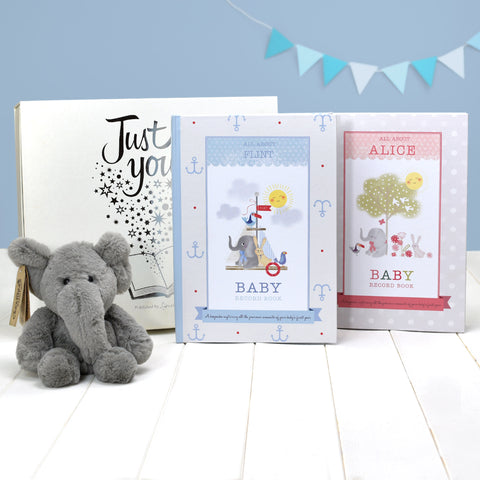 Personalised Baby Record Book with Plush Elephant Toy from Pukkagifts.uk