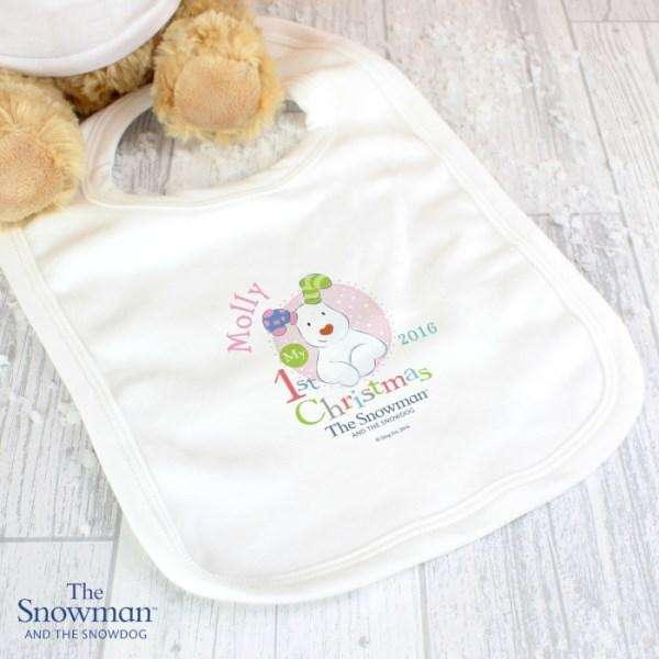 Personalised The Snowman and The Snowdog My 1st Christmas Pink Bib from Pukkagifts.uk
